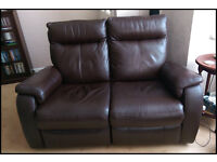 Brown Leather 2 Seater Sofa and 2 Armchairs all with Electric Recliners