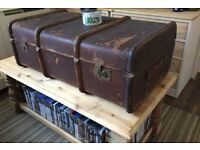 HUGE VINTAGE STEAMER LUGGAGE TRUNK BEAUTIFULLY AGED
