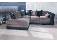 Stunning Brand New black and grey cord corner sofa. delivery