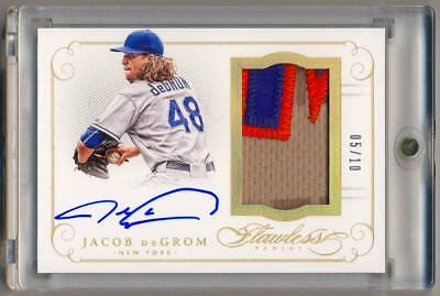 d68c7349bebf 2016 Panini Flawless Gold JACOB deGROM Letterman Jersey Patch Auto  10 CY  YOUNG!
