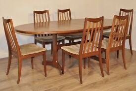 Large extendable teak G plan table with 6 chairs Retro