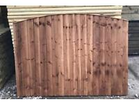 🌞 BrownTanalised Bow Top Wooden Garden Fence Panels
