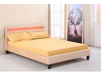 GOLD VELVET LED COLOUR CHANGING BED - Double - optional memory foam mattress