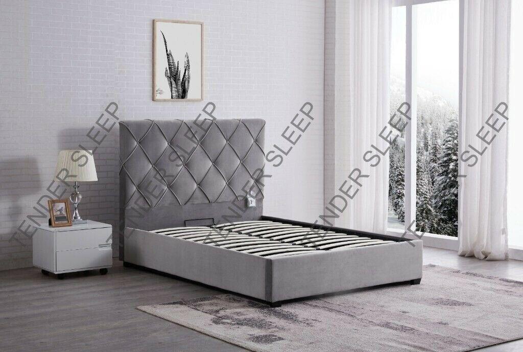 finest selection 13739 ad813 BEST ADULT SLEEPER BRAND NEW PLUSH VELVET STORAGE BED FRAME BLACK/GRAY  COLOR BACKER FIELD MATTRESS | in Kennington, London | Gumtree