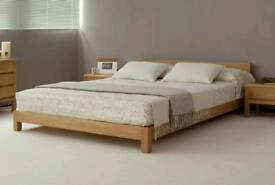 Solid pine low double bed frame, minimalism, attic room