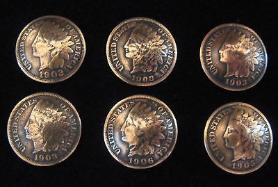 (6) VINTAGE INDIAN HEAD PENNY BUTTONS /CONCHOS