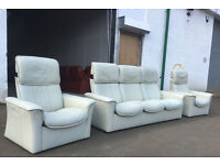 3+1+1 Ekornes Stressless Ivory leather sofas, suite, couch DELIVERY AVAILABLE