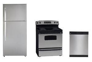 Ensembles GE Frigo, cuisinière, lave-vaisselle en stainless 1599$ (SKU: 1431)
