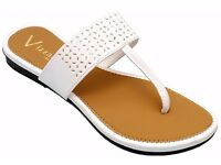 Vizzano Leathers Women's White Synthetic Slippers | white Flats| white Slippers|BRAND NEW