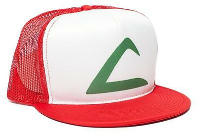 Retro POKEMON -ASH KETCHUM Flat Bill Printed Hat Cap HIGH QUALITY High Cap Print