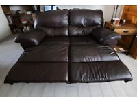 2 seater leather recliner sofa, brown