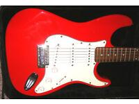 Fender Strat copy. Red. Electric guitar.