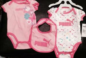 PUMA ONSIE gift set BIB and 2 x onsies girls BRAND NEW with tags