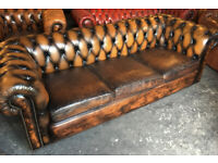 Antique gold leather 4 seater Chesterfield sofa