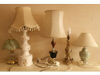 5 VINTAGE LAMPS WITH SHADES (4/5) ALL IN WORING CONDITION RETRO OFFICE PUB CAFE RESTARAUNT SEE PICS