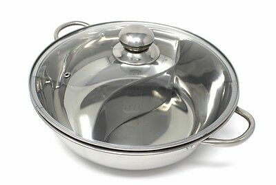 CONCORD Stainless Steel Double Hot Pot Cookware Shabu Shabu Induction Compatible