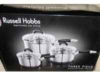 RUSSELL HOBBS 3 PIECE STAINLESS STEEL SAUCEPAN SET (new)