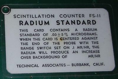 Radium Calibration Card Standard Rare