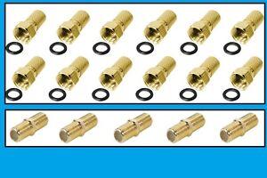 20 x F Stecker VERGOLDET 7mm 10 x F Verbinder gold Kupplung Sat Kabel Verbindung