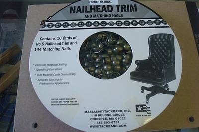 NEW French Natural Nailhead Trim & Matching Nails-10 Yds-144 Nails