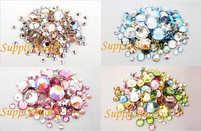 144 Multi Size Color Swarovski Flatback Crystal Rhinestone Nail Art Mix Pack