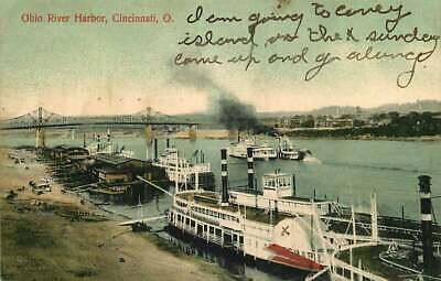 Postcard Riverboats, Ohio River Harbor, Cincinnati, Ohio - used in 1909