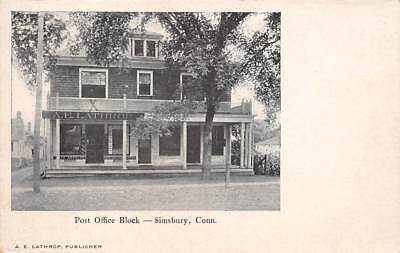 Simsbury  Ct   Post Office Block   A  E  Lathrop  Pub     C  1906
