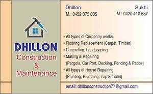DHILLON CONSTRUCTION & MAINTINANCE Werribee Wyndham Area Preview
