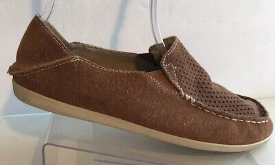 Olukai Nohea Perf Nubuck Brown Suede Leather Moccasin Flat Loafers Shoes 7.5 Brown Nubuck Suede Shoes