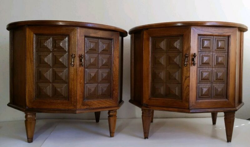 Pair of Vintage Marble Top Drum End Tables - Spanish Revival/Colonial Style