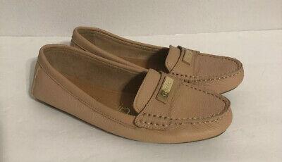 Calvin Klein Women Leta Leather Flat Shoes Tan Brown  Size 8.5