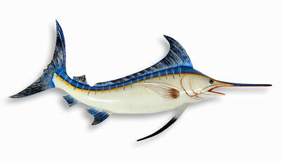 """Hand Painted 18"""" Striped Blue Marlin Game Fish Wall Mount Decor Sculpture 763M"""