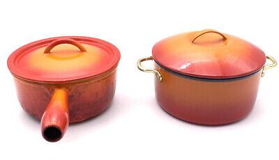 Vtg BELGIUM DESCOWARE CAST IRON ORANGE FLAME FE15 Pan And Non-Branded DUTCH OVEN