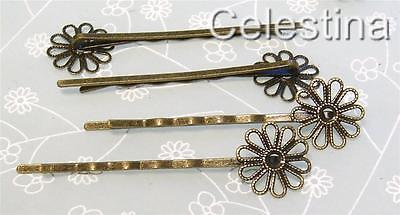 5 x Antique Bronze Daisy Hair Clips Fancy Flower Hair Slides Grips Bobby Pins