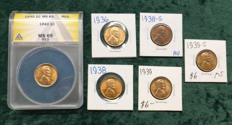 Lincoln Wheat Ears Cent 6-Coin Lot, Mixed Dates & Mint Marks, 1 ANACS Certified