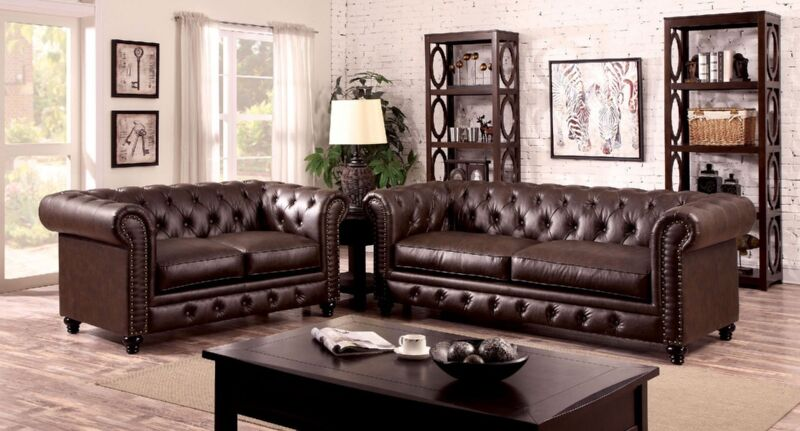 Traditional Brown Leatherette Fabric 2 Pc Sofa Love-seat Nailed Trimmed