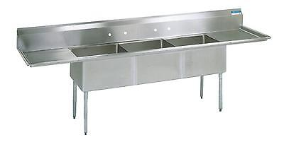 Bk Resources 3 Compartment Sink Ss W 18x24x14d Bowls 2 Drainboards