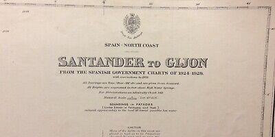 ADMIRALTY SEA CHART. No.2926. SANTANDER to GIJON. NORTH COAST of SPAIN. 1933.