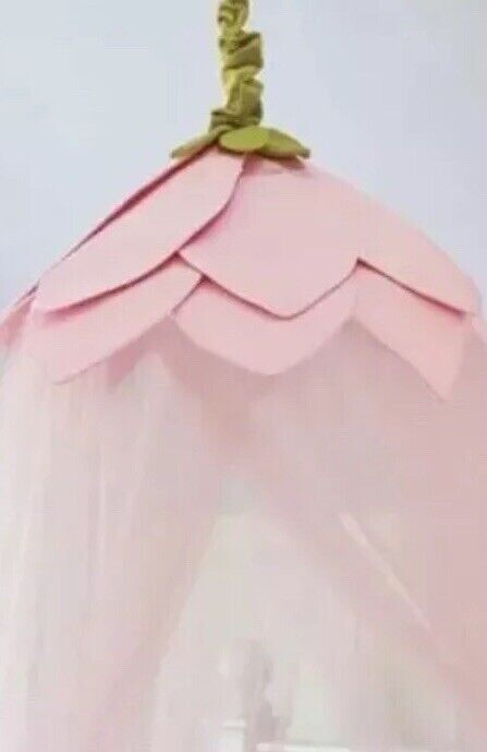 Pottery Barn Kids Bed Canopy Pink Rose Petal Flower Pink Tulle NEW Girls BedRoom