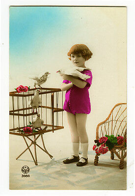 1920's Antique Cute GIRL w/ PIGEONS Dove Child tinted photo postcard ()