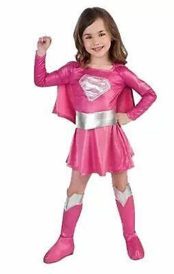 Pink Supergirl Superman Kids Costume Girls Fancy Dress-Size 3-8 Free Boot - Pink Superman Costume