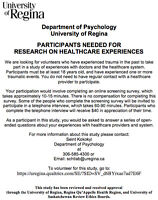 PARTICIPANTS NEEDED FOR RESEARCH ON HEALTHCARE EXPERIENCES