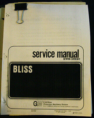Bliss C-22 Thru C-60 Presses Installation Operations And Service Manual