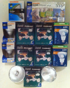 Outdoor floodlight fixture kits and bulbs