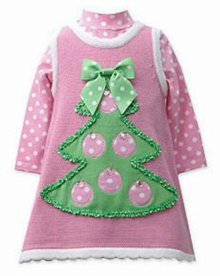 BONNIE JEAN® Little Girls' 4 Christmas Tree Sweater Jumper Dress Set NWT