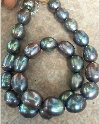"stnning 10-11mm tahitian baroque black green grey  pearl Loose beads 14"""""