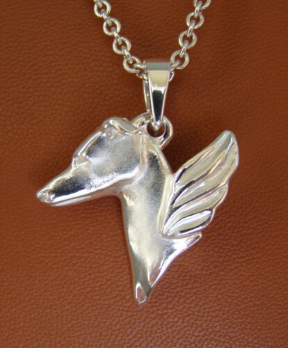 Large Sterling Silver Greyhound Angel Pendant
