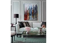 Hand Oil Painting - Colourful Modern Abstract Wall Decor on Canvas - 60cm x 90cm