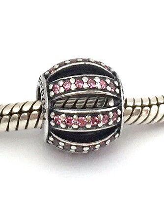 Authentic Pandora 925 Silver Leading Lady Fancy Pink CZ Bead Charm 791115CZS New