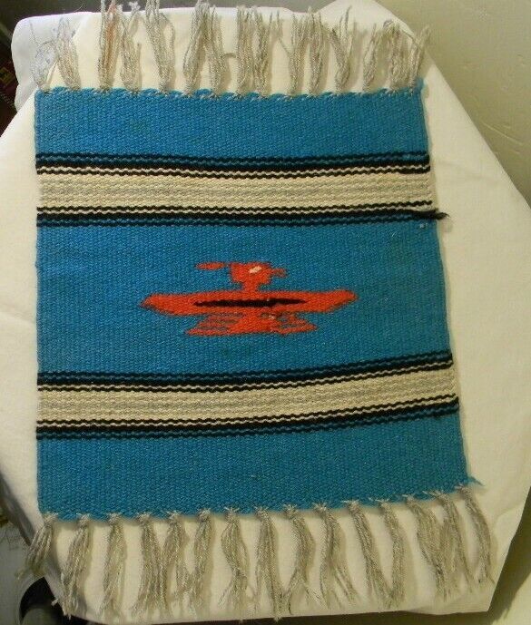 VTG CHIMAYO NEW MEXICO HAND WOVEN TURQUOISE RUG PLACE MAT 14 X 10 ORTEGA